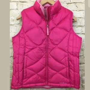 LL Bean Youth Puffer Vest Sz Large 14-16 Pink Down